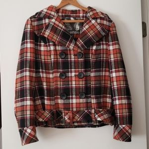 Kensie pretty collection plaid cropped jkt size M